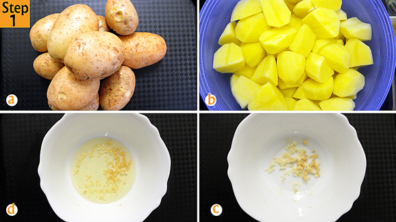 Wash and peel potatoes (a) then cut each potato into quarters (b), putting them in a bowl with water to avoid discoloration (b). Take a separate bowl and put your chopped garlic (c) then add your pure vegetable oil (d).