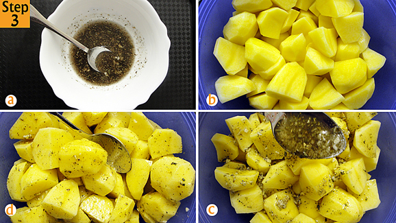 Give it another quick stir until everything is mixed (a). Get back to your potatoes, drain and pat dry them then return them to your bowl(b) . Spoon your garlic and mixed herbs mixture onto the potatoes (c) then mix everything up until each potato quarter is coated with the mixture (d).