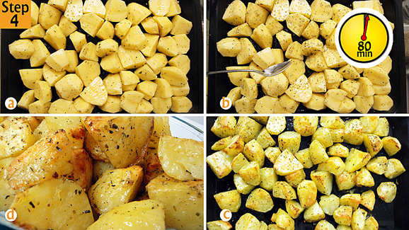 Put potatoes in oven tray (a). Sprinkle 1 more teaspoon of the dried mixed herbs onto the potatoes b) then grill-bake at 180 degrees Celsius/ 350 degrees Fahrenheit/ Gas mark 6 for 1 hour 20 minutes or until they are well done and golden brown (d).