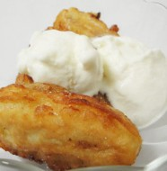 Banana fritters served with ice cream
