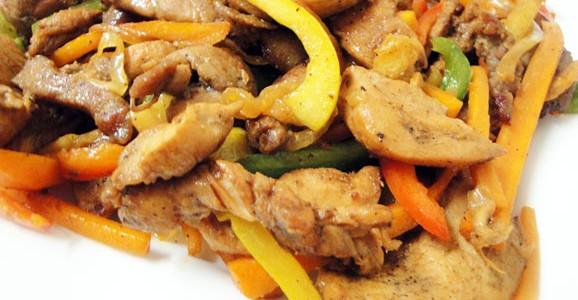 Chicken and pork stir fry ready!