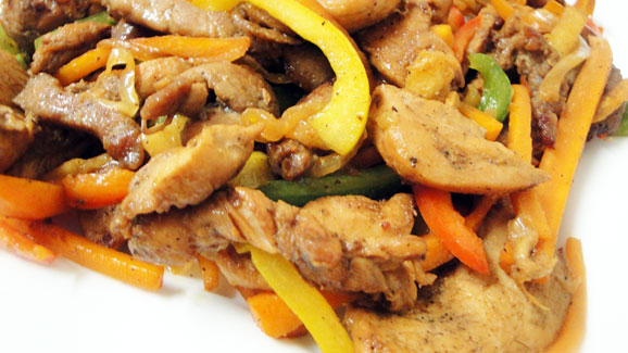Your chicken and pork stir fry is ready!