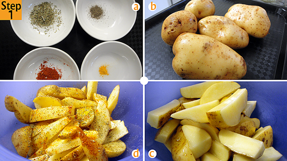 Have your spices ready (a) and your potatoes washed and scrubbed (b). Cut them up into wedges by first cutting each potato into half, vertically, then each half into 3 or four thick vertical strips which will be the wedges and put them in a bowl (c). Immediately season and oil the potato wedges (d).  Toss the about to ensure that each wedge is evenly coated.