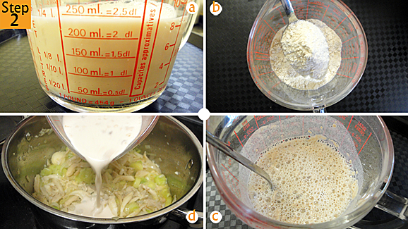 Whilst the mushroom, leeks and onion are cooking, measure your fresh milk (a) and add the soup powder to the milk (b). Mix and break any lumps that may form (c). Pour this mixture into the mushroom and leeks (d). Immediately add the chicken stock (or water if you don't have chicken stock).