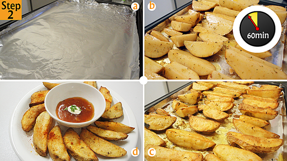 Line your baking sheet with foil paper (a) (order foil paper here), lay the wedges skin side down and grill for 60 minutes (b) or until crispy and golden brown (c). Enjoy (d)!