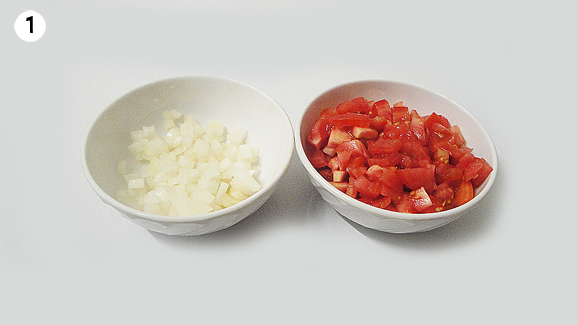 Chop your onion and tomatoes.
