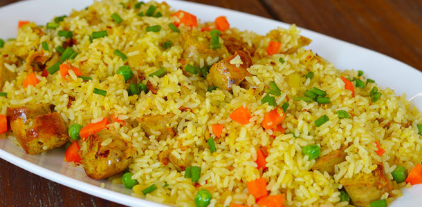 Chicken wors and Vegetable Fried Rice