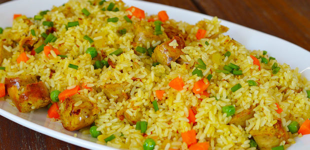 """Chicken wors"" and Vegetable Fried Rice"